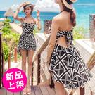 【1745-0706】露背後綁帶燕尾裙二件套泳裝 比基尼 (M/L/XL/2XL/3XL)