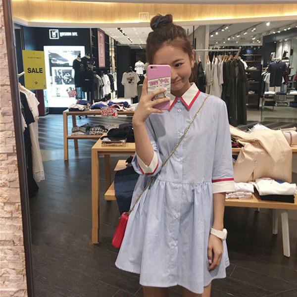 VK旗艦店 韓國學院風襯衫條紋素色顯瘦長袖洋裝