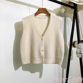 針織馬甲 毛衣背心開衫女短款秋裝新款韓版寬鬆學生無袖坎肩針織衫馬甲外套 suger