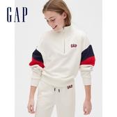 Gap女童 運動風格半高領休閒上衣 575220-雪花白色