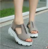 夏季女生坡跟松糕厚底魚嘴鞋YYY599『毛菇小象』