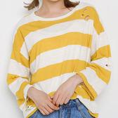 現貨-T恤-寬鬆粗版條紋割破洞長袖上衣 Kiwi Shop奇異果0414【SPM6600】