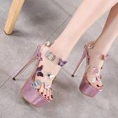 高跟鞋模特高跟鞋性感透明水晶鞋細跟防水臺涼鞋夏季女大碼 貝兒鞋櫃