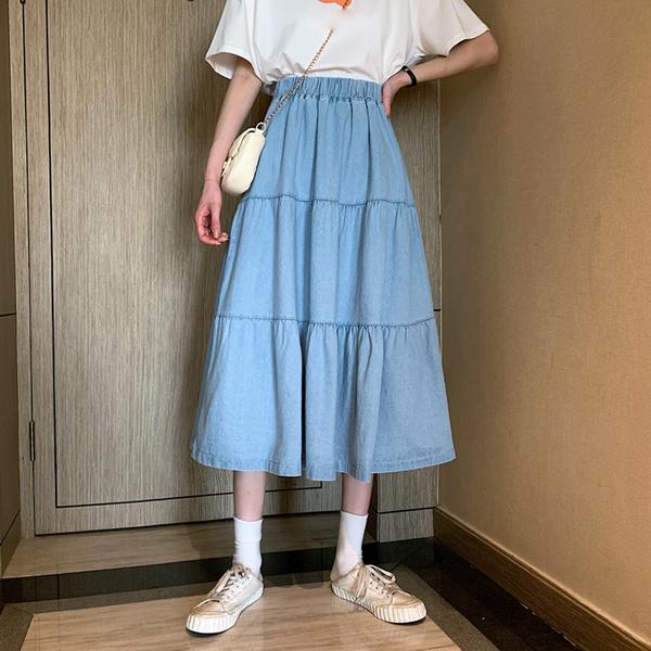 DE shop - 小個子顯瘦傘裙百搭A字裙 - D-1648