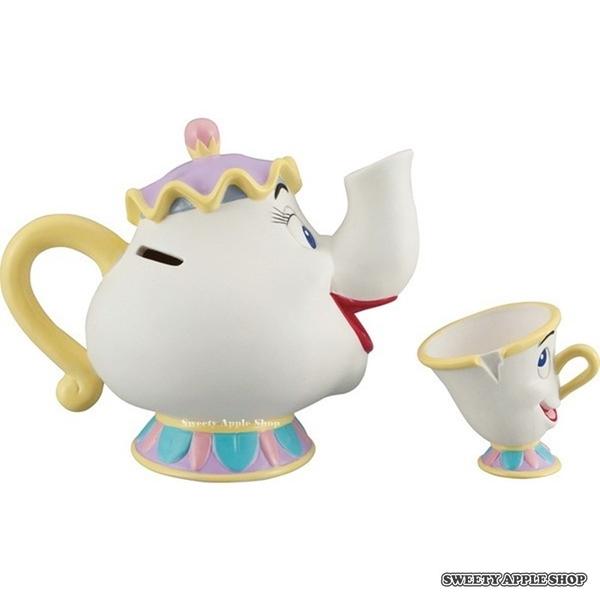 日本限定 迪士尼 美女與野獸 茶壺媽媽 阿齊 陶瓷公仔 存錢筒