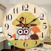臥室鐘錶卡通掛鐘超靜音創意可愛兒童房掛鐘女孩掛錶幼兒園石英鐘【快速出貨】