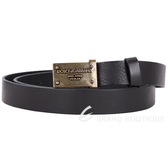 DOLCE & GABBANA 仿舊金屬牌設計皮革腰帶(黑色) 1330084-01