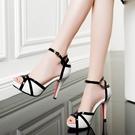 魚口鞋 2021夏魚嘴高跟涼鞋細跟仙女風一字扣帶防水臺性感顯瘦拼色女鞋子 韓國時尚週 免運