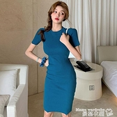 修身洋裝 chic法式復古短袖連身裙女夏裝韓新款小心機好身材顯瘦緊身包臀裙 曼慕