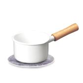 (組)琺瑯單柄牛奶鍋12cm+自然風陶瓷鍋墊-大理石紋