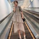 早春新品中長版過膝不規則網紗短袖連衣裙女裝顯瘦仙女蛋糕裙