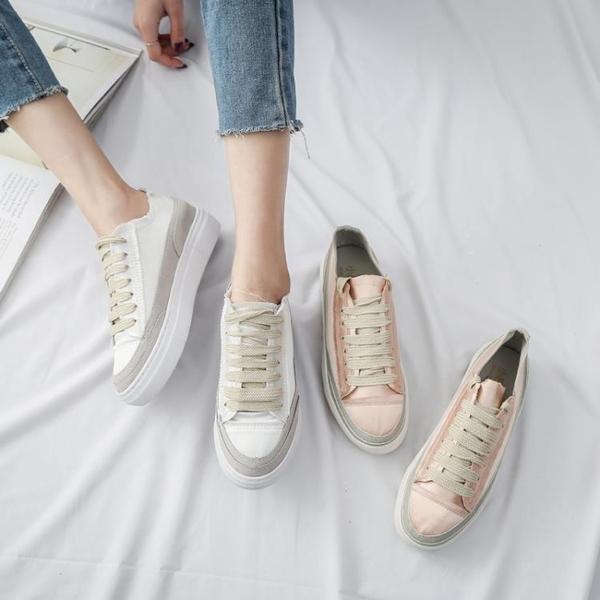 2019春秋季新款百搭基礎西班牙小眾厚底鬆糕內增高網紅小白鞋女夏