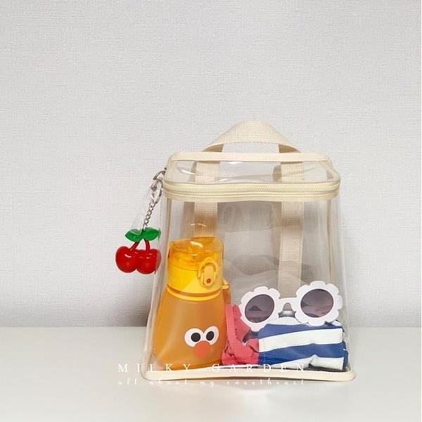 milky garden兒童戶外零食玩具幼兒園透明書包拉錬雙肩背包沙灘包1 幸福第一站