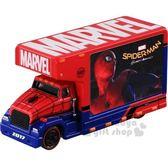 〔小禮堂〕MARVEL漫威 蜘蛛人 TOMICA小汽車《紅藍.宣傳車》模型.玩具.公仔 4904810-89704