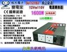 【久大電池】 變電家 SU-12160 純正弦波電源轉換器 12V轉110V 1600W