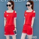 套裝運動套裝女夏新款韓版寬鬆短袖短褲時尚兩件套跑步服休閒套裝 快速出貨