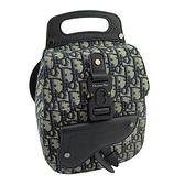 【奢華時尚】DIOR 藍黑色LOGO帆布斜背後背兩用包(九九成新)#25076