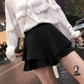 褲裙 半身裙女2019春季新款純色裙褲黑色裙子高腰A字短裙荷葉邊韓版夏 2色S-XL