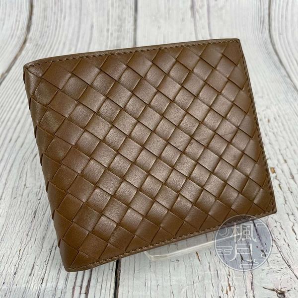 BRAND楓月 Bottega Veneta BV 113993 卡其色 淺棕色 皮革 編織 對折 短夾 錢夾 皮夾