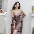 睡衣女夏季薄款冰絲性感誘惑蕾絲春秋絲綢吊帶睡裙長袖睡袍兩 快速出貨