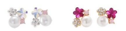 [協貿國際] 日韓氣質五葉花梅花水晶水鑽珍珠耳環 (10個價)