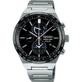 【台南 時代鐘錶 SEIKO】精工 Spirit 太陽能三眼計時腕錶 SBPJ025J@V195-0AE0D 黑/銀 41mm