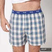 【JEEP】五片式剪裁 純棉平口褲 (湖水綠格紋)