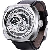 SEVENFRIDAY Q1 日期顯示自動上鍊機械錶-銀/44*50mm Q1