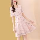 粉色v領雪紡碎花洋裝女夏中長款2020新款時尚氣質夏天流行 快速出貨