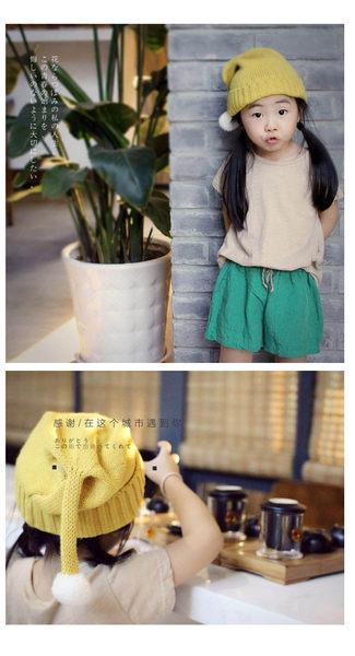 韓版可愛小球兒童針織保暖毛帽