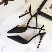 歐美風簡約宴會女鞋細跟高跟綢緞淺口尖頭性感夜店顯瘦一字帶涼鞋