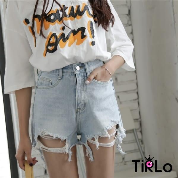 牛仔短褲 -Tirlo-歐美性感破壞感高腰牛仔短褲(附釦環腰帶)-兩色/S-XL(現+追加預計5-7工作天出貨)