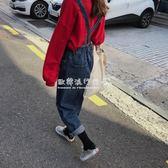 韓版女裝寬鬆復古牛仔褲學生背帶褲百搭直筒褲鬆緊高腰連體褲  歐韓流行館