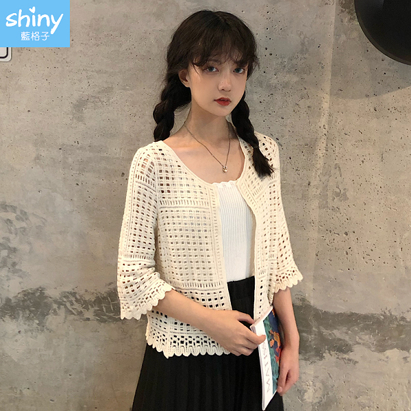 【V9165】shiny藍格子-好感春搭.摟空針織短款七分袖小外套