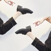 英倫風女鞋小皮鞋女春季百搭粗跟學院厚底單鞋繫帶布洛克鬆糕鞋