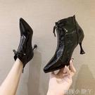 馬丁靴女英倫風2020秋季新款時尚尖頭女士漆皮高跟鞋細跟瘦瘦短靴 蘿莉新品