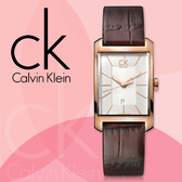 CK手錶專賣店 K2M23620(小)女錶  石英 方型直纹  白面 夜光指針 皮錶帶 鍍金不銹鋼錶殼 礦物抗磨玻璃