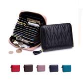 短夾 素色 真皮 拉鍊 壓紋 多功能 風琴卡包 錢包 短夾【CL7120】 BOBI  08/16
