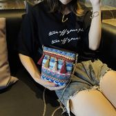 小包包韓版潮民族風流蘇個性復古百搭迷你水桶包斜背單肩女包 檸檬衣舍