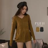 PUFII-針織上衣 V領麻花長袖針織上衣-0929 現+預 秋【CP19151】