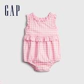 Gap嬰兒 可愛格紋花邊包屁衣 681805-粉色