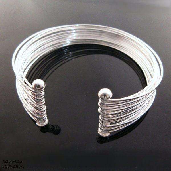 ☆§海洋盒子§☆質感多層次線條。開口式925純銀手環