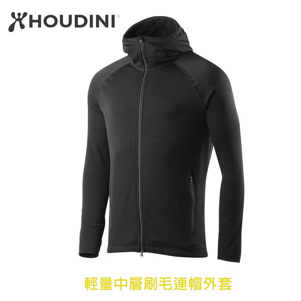 [瑞典  HOUDINI ] M's Outright Houdi 輕量中層刷毛連帽外套 男款 (純黑石南)