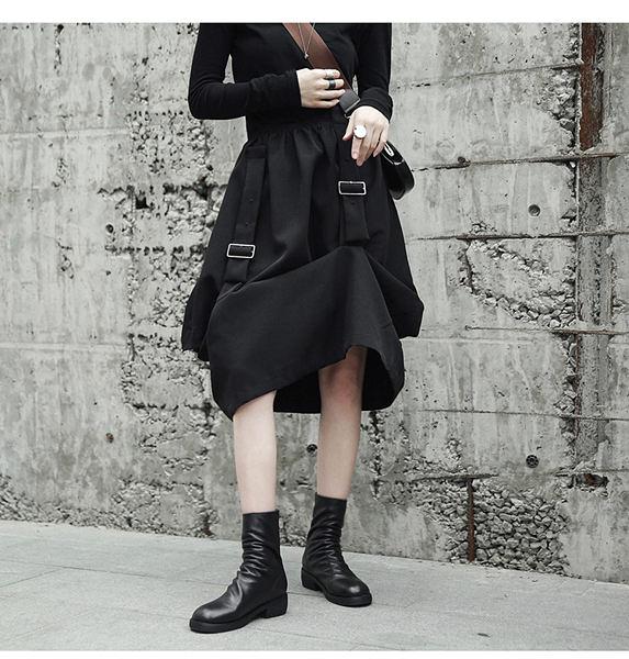 秋冬暗黑個性割破鐵扣造型中長裙/設計家
