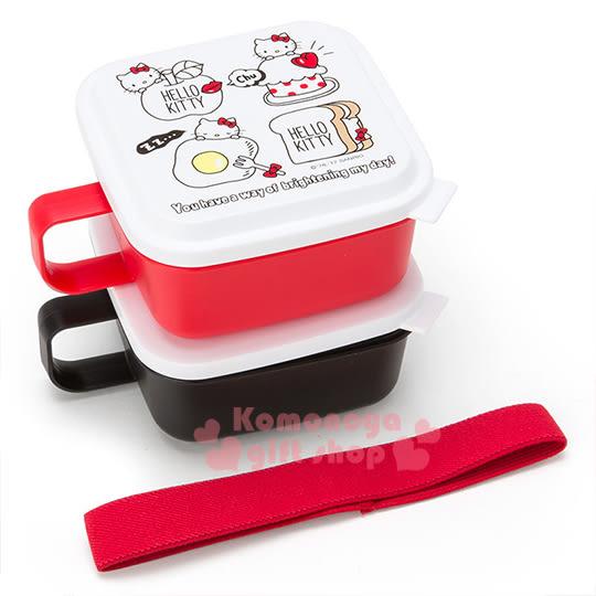 〔小禮堂〕Hello Kitty 日製單耳保鮮盒組《2入.方型.紅黑.大臉.吐司.荷包蛋》附彈性束帶 4901610-35518