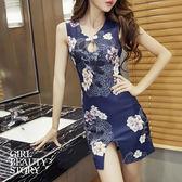 SISI【D7133】改良旗袍鏤空深V爆乳性感派對角色扮演制服無袖修身曲線包臀開叉連身裙洋裝
