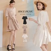 洋裝 Space Picnic 素面雪紡V領短洋裝-附綁帶(預購)【C21042085】