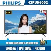 ★送美食鍋★PHILIPS飛利浦 43吋4K UHD連網液晶顯示器+視訊盒43PUH6002