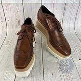 BRAND楓月 STELLA McCARTNEY 咖啡ELYSE厚底鞋 #37.5 鋸齒 木頭 皮鞋 雕花 德比鞋 鞋子