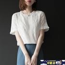 中大尺碼雪紡女上衣短袖夏2021新款襯衫蕾絲拼接洋氣小衫時尚打底衫 8號店